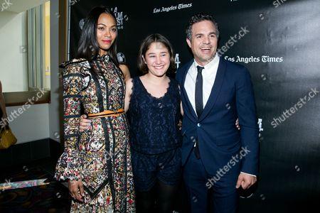 "Zoe Saldana, from left, Imogene Wolodarsky and Mark Ruffalo attend the Los Angeles Premiere of ""Infinitely Polar Bear"" held at Regal Cinemas L.A. LIVE, in Los Angeles"