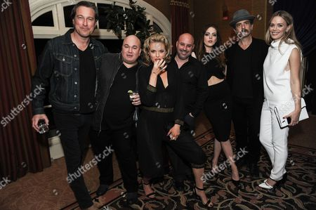 From left, John Corbett, Robert Kelly, Elaine Hendrix, Jim Serpico, Elizabeth Gillies, John Ales, and Eric Schrier attend the Fox Winter TCA All Star Party, in Pasadena, Calif