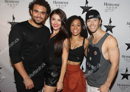 Stock Image of Actors Andrew Chappelle, left, Carleigh Bettiol, Alysha Deslorieux and Thayne Jasperson are seen at Hennessy V.S.O.P Celebrates Hamilton's 1st Week of performances on Broadway at URBO, in New York