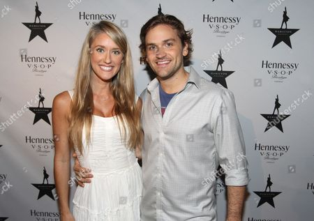 Stock Photo of Actors Heather Bair and Neil Haskell are seen at Hennessy V.S.O.P Celebrates Hamilton's 1st Week of performances on Broadway at URBO, in New York