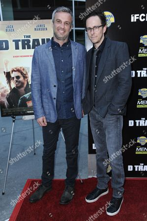 """Writers/directors Andrew Mogel, left and Jarrad Paul arrive at the LA Premiere of """"The D Train"""" held at Arclight Cinemas - Hollywood, in Los Angeles"""
