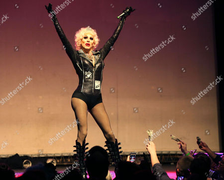 Sharon Needles performing at Center Stage Theatre, in Atlanta. Hosted by Michelle Visage, featured drag queens on the tour are Jinkx Monsoon, Sharon Needles, Ivy Winters, Carmen Carrera, Pandora Boxx, Phi Phi O'hara and DJ Mimi Imfurst