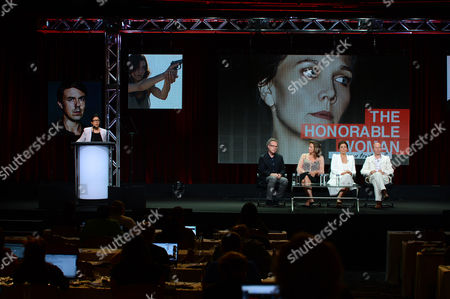 """From left, Sarah Barnett, President and General Manager of SundanceTV, Greg Brenman, Executive Producer, Janet McTeer, Maggie Gyllenhaal and Hugo Blick, Creator/Producer/Writer/Director at SundanceTV TCA Panel for """"The Normal Heart"""" at the Beverly Hilton on in Beverly Hills"""