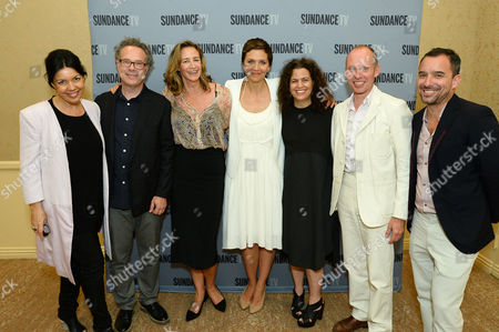"Stock Image of From left, Sarah Barnett, President and General Manager, SundanceTV, Greg Brenman, Executive Producer, actress Janet McTeer, actress Maggie Gyllenhaal, Nena Rodrigue, SVP of Original Programming, SundanceTV, Hugo Blick, Creator/Producer/Writer/Director and Christian Vesper: SVP of Scripted Programming, SundanceTV at SundanceTV TCA Panel for ""The Normal Heart"" at the Beverly Hilton on in Beverly Hills"