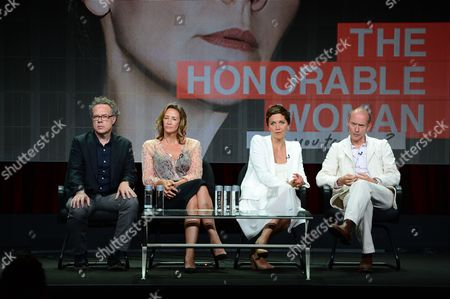 """From left, Greg Brenman, Executive Producer, Janet McTeer, Maggie Gyllenhaal and Hugo Blick, Creator/Producer/Writer/Director at SundanceTV TCA Panel for """"The Normal Heart"""" at the Beverly Hilton on in Beverly Hills"""