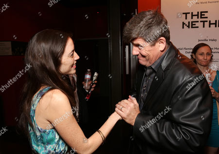 """From left, cast member Jeanne Syquia and actor Rod McLachlan pose during the party for the world premiere of """"The Nether"""" at Center Theatre Group's Kirk Douglas Theatre on in Culver City, Calif"""