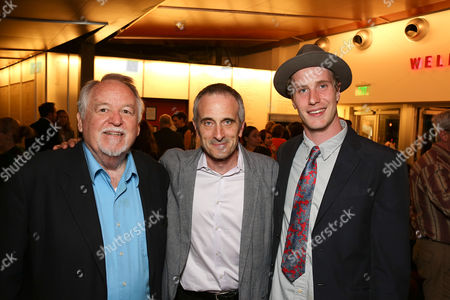 """From left, cast member Dakin Matthews, director Neel Keller and cast member Adam Haas Hunter pose during the party for the world premiere of """"The Nether"""" at Center Theatre Group's Kirk Douglas Theatre on in Culver City, Calif"""