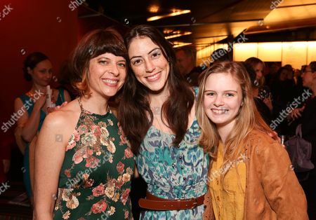 """From left, playwright Jennifer Haley poses with cast members Jeanne Syquia and Brighid Fleming during the party for the world premiere of """"The Nether"""" at Center Theatre Group's Kirk Douglas Theatre on in Culver City, Calif"""