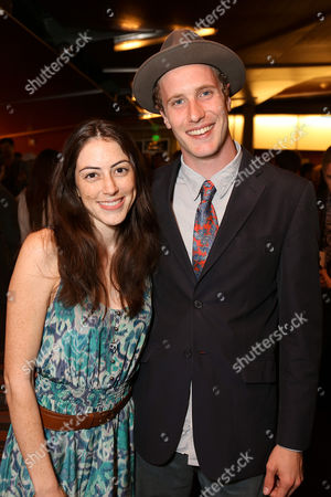 """From left, cast members Jeanne Syquia and Adam Haas Hunter pose during the party for the world premiere of """"The Nether"""" at Center Theatre Group's Kirk Douglas Theatre on in Culver City, Calif"""