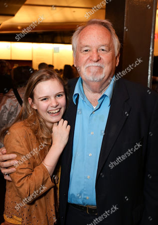 """From left, cast members Brighid Fleming and Dakin Matthews pose during the party for the world premiere of """"The Nether"""" at Center Theatre Group's Kirk Douglas Theatre on in Culver City, Calif"""