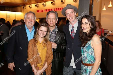 "From left, cast members Dakin Matthews, Brighid Fleming, Robert Joy, Adam Haas Hunter and Jeanne Syquia pose during the party for the world premiere of ""The Nether"" at Center Theatre Group's Kirk Douglas Theatre on in Culver City, Calif"