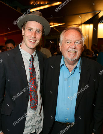 """From left, cast members Adam Haas Hunter and Dakin Matthews pose during the party for the world premiere of """"The Nether"""" at Center Theatre Group's Kirk Douglas Theatre on in Culver City, Calif"""