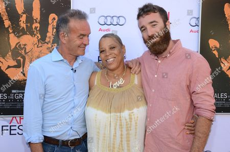 """Nick Broomfield, Pamela Brooks, and Barney Bloomfield seen at 2014 AFI Fest - """"Tales Of The Grimm Sleeper"""" - Arrivals at The Egyptian Theatre, in Los Angeles, Calif"""