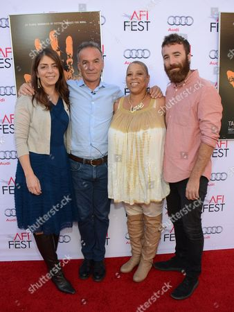 """Nancy Abraham, Nick Broomfield, Pamela Brooks, and Barney Bloomfield seen at 2014 AFI Fest - """"Tales Of The Grimm Sleeper"""" - Arrivals at The Egyptian Theatre, in Los Angeles, Calif"""