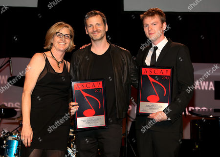 """ASCAP Vice President, Membership - Pop/Rock Sue Drew and Dr Luke and Cirkut recipients of the ASCAP Pop song award for """"Good Feeling"""" are seen at the 30th Annual ASCAP Pop Music Awards,, at Loews Hollywood Hotel in Hollywood, California"""