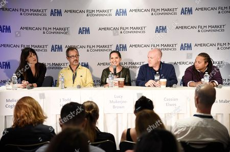 Producer Melissa Coghlan, Producer J. Todd Harris, Lucy Mukerjee-Brown, Director of Programming of Outfest, Producer Cassian Elwes and Writer/Director Tina Mabry speak at the American Film Market Roundtable Making an Impact: How Telling LGBT Stories Can Pay Off at the Loews Santa Monica Beach Hotel, in Santa Monica, Calif