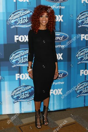 """Stock Photo of Tamyra Gray arrives at the """"American Idol"""" farewell season finale at the Dolby Theatre, in Los Angeles"""