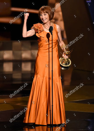 Jane Anderson accepts the award for outstanding writing for a limited series, movie or a dramatic special for â?oeOlive Kitteridgeâ?? at the 67th Primetime Emmy Awards, at the Microsoft Theater in Los Angeles
