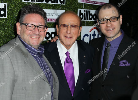 Lucian Grainge, left, Clive Davis, center, and Bill Werde pose together at Billboard's 2013 Power 100 List event at The Redbury on in Los Angeles