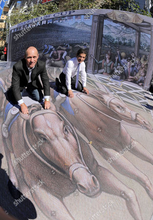 Stock Picture of Jockeys Gary Stevens, left, and Laffit Pincay, Jr. pose atop a 3D street painting by artist Kurt Wenner following a news conference to announce the official return of the Breeders' Cup World Championships to the city of Los Angeles,, in Los Angeles