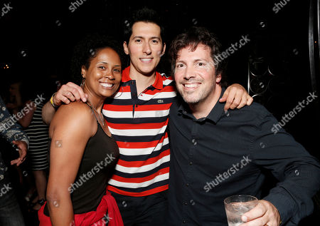 """Stock Picture of Writers of Grimm Akela Cooper, Spiro Skentzos and Richard Hatem attend the Entertainment One """"Haven"""" Party at Comic Con 2012 on in San Diego, CA"""