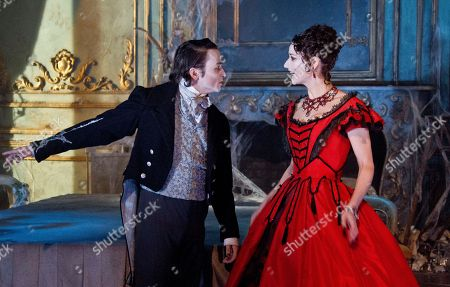 Grace Rowe as Estella and Taylor Jay-Davies as Young Pip, perform a scene from the Great Expectations, during a theatre photo call at the Vaudeville Theatre, central London, . Based on the novel of the same name by Charles Dickens, the stage adaptation by Jo Clifford runs in the West End from February