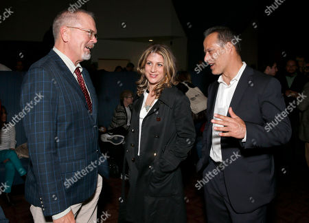 IDA Executive Director Michael Lumpkin, VP of HBO Documentary Films Sara Bernstein and Director Sebastian Junger attend HBO Documentary Films' Which Way Is the Frontline From Here: The Life and Time of Tim Hetherington Los Angeles Premiere, on Thursday, April, 4, 2013 in Los Angeles