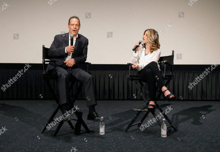 Director Sebastian Junger and VP of HBO Documentary Films Sara Bernstein attend HBO Documentary Films' Which Way Is the Frontline From Here: The Life and Time of Tim Hetherington Los Angeles Premiere, on Thursday, April, 4, 2013 in Los Angeles
