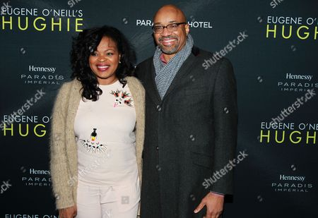 """Stock Image of Jacquie Lee and Rodney Williams CMO & EVP Brands, Moet Hennessy USA are seen at Hennessy Prestige presents Opening Night of Eugene O'Neill's """"Hughie"""" at the Booth Theater on in New York"""