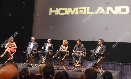 """From left to right, moderator and The Hollywood Reporter TV editor Lacey Rose, co-creator Alex Gansa, co-creator Howard Gordon, executive producer Meredith Stiehm, executive producer Alex Cary, and composer Sean Callery at the Fox 21 and Showtime """"Homeland"""" Emmy writer's panel and discussion on in Los Angeles"""