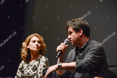 """Executive producer Meredith Stiehm, left, and executive producer Alex Cary at the Fox 21 and Showtime """"Homeland"""" Emmy writer's panel and discussion on in Los Angeles"""
