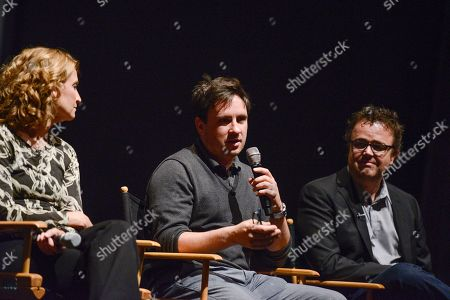 """Executive producer Meredith Stiehm, left, executive producer Alex Cary, and composer Sean Callery at the Fox 21 and Showtime """"Homeland"""" Emmy writer's panel and discussion on in Los Angeles"""