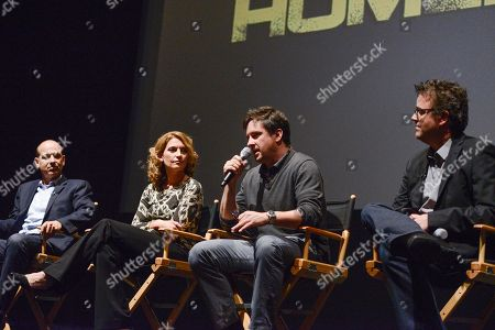 """From left to right, co-creator Howard Gordon, executive producer Meredith Stiehm, executive producer Alex Cary, and composer Sean Callery at the Fox 21 and Showtime """"Homeland"""" Emmy writer's panel and discussion on in Los Angeles"""