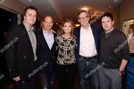"""From left to right, composer Sean Callery, co-creator Howard Gordon, executive producer Meredith Stiehm, co-creator Alex Gansa, and executive producer Alex Cary at the Fox 21 and Showtime """"Homeland"""" Emmy writer's panel and discussion on in Los Angeles"""