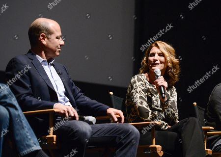 """Co-creator Howard Gordon, left, executive producer Meredith Stiehm, center, and executive producer Alex Cary at the Fox 21 and Showtime """"Homeland"""" Emmy writer's panel and discussion on in Los Angeles"""
