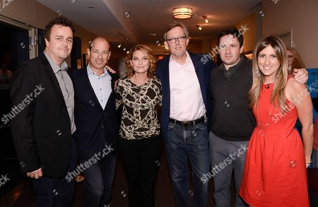 """From left to right, composer Sean Callery, co-creator Howard Gordon, executive producer Meredith Stiehm, co-creator Alex Gansa, executive producer Alex Cary, and moderator and The Hollywood Reporter TV editor Lacey Rose at the Fox 21 and Showtime """"Homeland"""" Emmy writer's panel and discussion on in Los Angeles"""