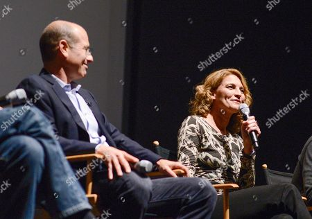 """Co-creator Howard Gordon, left, and executive producer Meredith Stiehm at the Fox 21 and Showtime """"Homeland"""" Emmy writer's panel and discussion on in Los Angeles"""