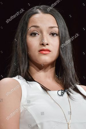 "Danielle Vega speaks onstage during the ""East Los High'"" segment of the the Hulu 2014 Summer TCA, in Beverly Hills, Calif"