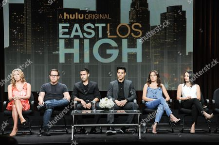 "Stock Image of From left, Executive producer Katie Elmore Mota, director/executive producer Carlos Portugal, actors Gabriel Chavarria, Ray Diaz, Vannessa Vasquez and Danielle Vega speak onstage during the ""East Los High'"" segment of the the Hulu 2014 Summer TCA, in Beverly Hills, Calif"