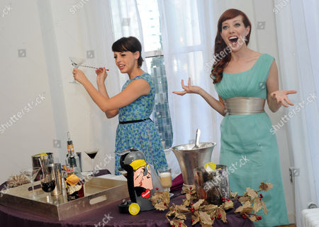Mixologists and Cooking Channel stars Georgia Hardstark, left, and Alie Ward host the NESCAFE Dolce Gusto holiday entertaining event in New York