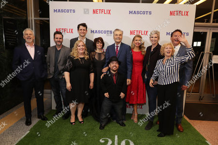 Writer/Director Christopher Guest, Christopher Moynihan, Zach Woods, Sarah Baker, Parker Posey, Fred Willard, Brad Williams, Susan Yeagley, Jane Lynch, Producer Karen Murphy and Michael Hitchcock seen at Netflix original film 'Mascots' Los Angeles Special Screening, in Los Angeles, CA