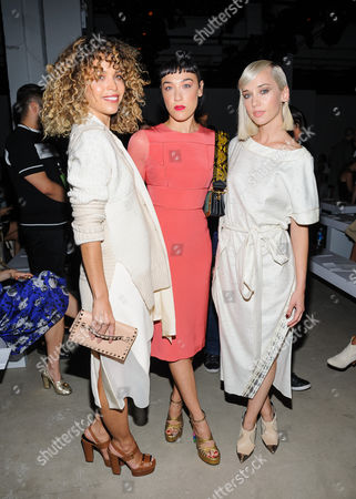 Cleo Wade, Mia Moretti, and Margot Caitlin Moe are seen at Prabal Gurung at The Gallery at Clarkson Square, in New York, NY