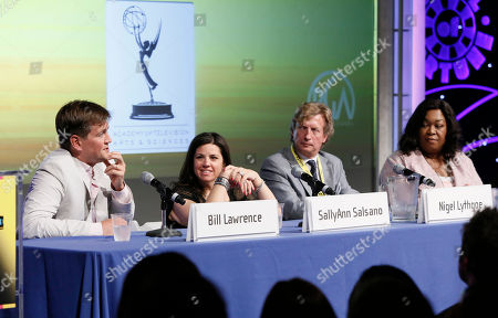 Bill Lawrence, SallyAnn Salsano, Nigel Lythgoe and Shonda Rhimes attend the Produced By Conference Day 1 on in Culver City, Calif