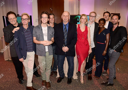 """Tom O'Neill, and from left, Jere Burns, Jacob Pitts, Timothy Olyphant, Nick Searcy, Joelle Carter, Fred Golan, Erica Tazel, Dave Andron, and Walton Goggins attend """"An Evening with Justified"""", at the Television Academy in the NoHo Arts District in Los Angeles"""