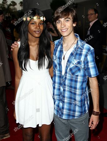 Stock Picture of Actors Diamond White, left, and Andy Pessoa attend the Hub Network's TCA at Universal Studios, in Los Angeles