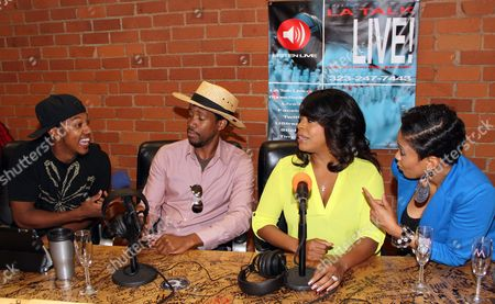 L-R) Radio personalities Wesley Jonathan, JT Jackson, special guest host actress Niecy Nash and show host Staci Harris live on air at The Staci Harris Show at LA Talk Live, in Los Angeles, California