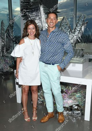 Stock Image of W Hotels Worldwide Director of Brand Marketing, North America, Suzanne Cohen and Global Brand Leader, Anthony Ingham, attend an opening celebration party for the W Dubai Hotel in Al Habtoor City, at Glasshouses, in New York