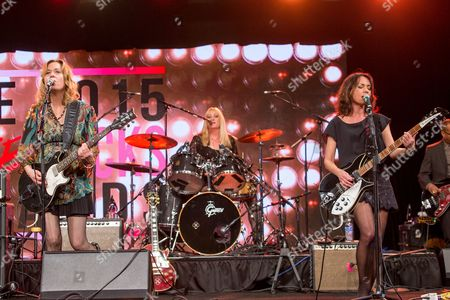 From left, Vicki Peterson, Debbi Peterson, and Susanna Hoffs of the Bangles during the 2015 She Rocks Awards at the Anaheim Hilton on in Anaheim, Calif