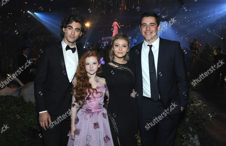 Stock Image of Blake Michael, from left, Francesca Capaldi, G Hannelius and guest attend the Governors Ball during night one of the Creative Arts Emmy Awards at the Microsoft Theater, in Los Angeles