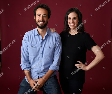 "Josh Kriegman, left, and Elyse Steinberg, co-directors of the Showtime documentary ""Weiner,"" pose together for a portrait during the 2016 Television Critics Association Summer Press Tour at the Beverly Hilton, in Beverly Hills, Calif"